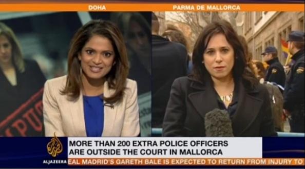 La TV árabe por excelencia, dando información del basto despliegue judicial en torno al juzgado donde