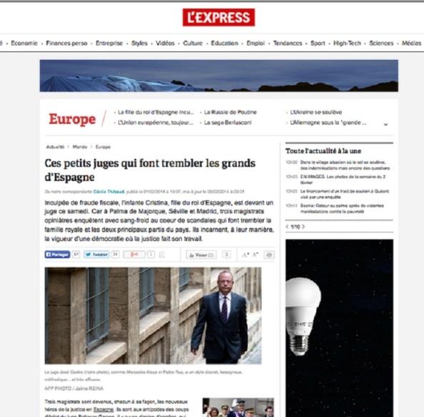 """El periódico frances """"L` Express"""", titula: """"Jueces pequeños que hacen a los grandes de España""""."""