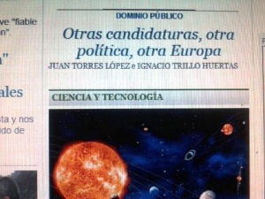 """En la Portada del diario """"EL Público.es"""" del 21.02.2014."""