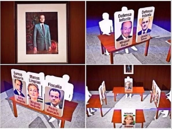 Tablero con los personajes y sus mobiliarios para el interrogatorio.