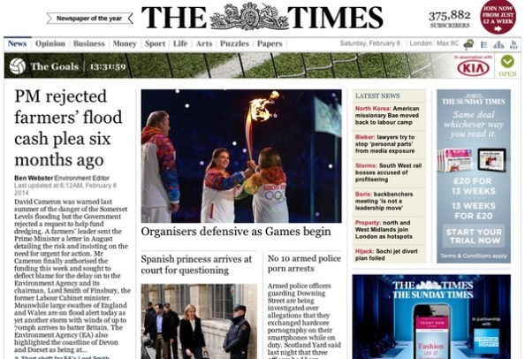 The Times de Londres, en primera página.