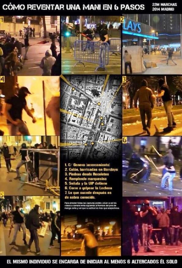 Provocador más que sospechosos actuando en seis sitios alrededor de por donde transcurría la manifestación con total impunidad y sin ser detenido