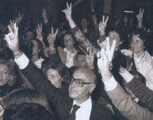 Clavero Arévalo, celebrando el triundo del SÍ
