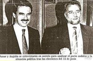 """La foto que IU quería que se borrase. """"La pinza protagonizada en el periodo 1994-1996 por IU y PP"""""""