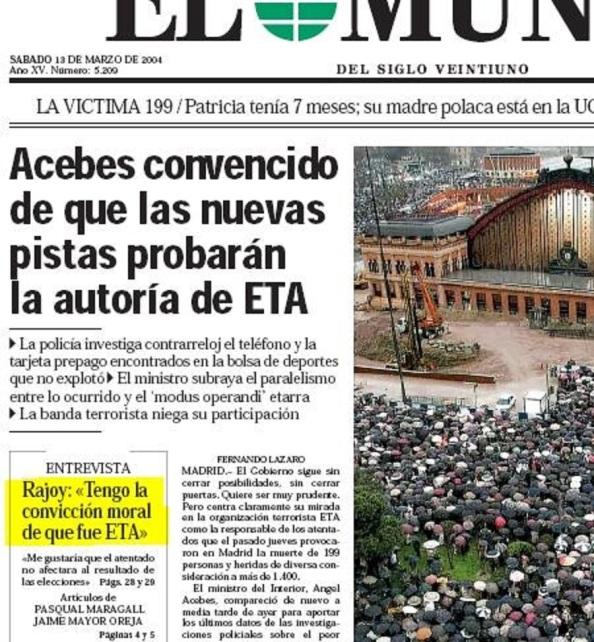 Diario El Mundo, 13.03.2014. Rajoy y Acebes: El 1M es ETA.