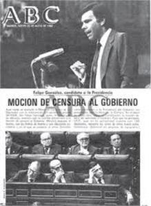 La moción de censura de Felipe Gonzalez sería desivisa para el desgaste del presidente Suárez y también para el triunfo arrollador del PSOE en 1982