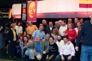 Militantes del PTE malagueño, celebrando en Madrid el 30ª aniversario de su constitució. Se autodisolvió en 1980, siendo la primera fuerza extraparlamentaria.