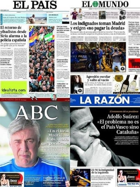 Poerada de los diarios de papel de Madrid. De bochorno.