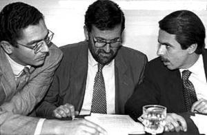 Aznar, Rajoy y Ruiz-Gallardón que no se creían que hubieras perdido las elecciones generales de 1993
