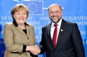 Martin Schulz con Ángela Merkel