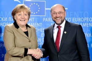 Martin Schulz con Ángela Merkel, tras el Acuerdo CDU-SPD