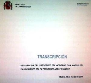 El texto del pésame de Rajoy, hechado 4 días antes de que se produjera.