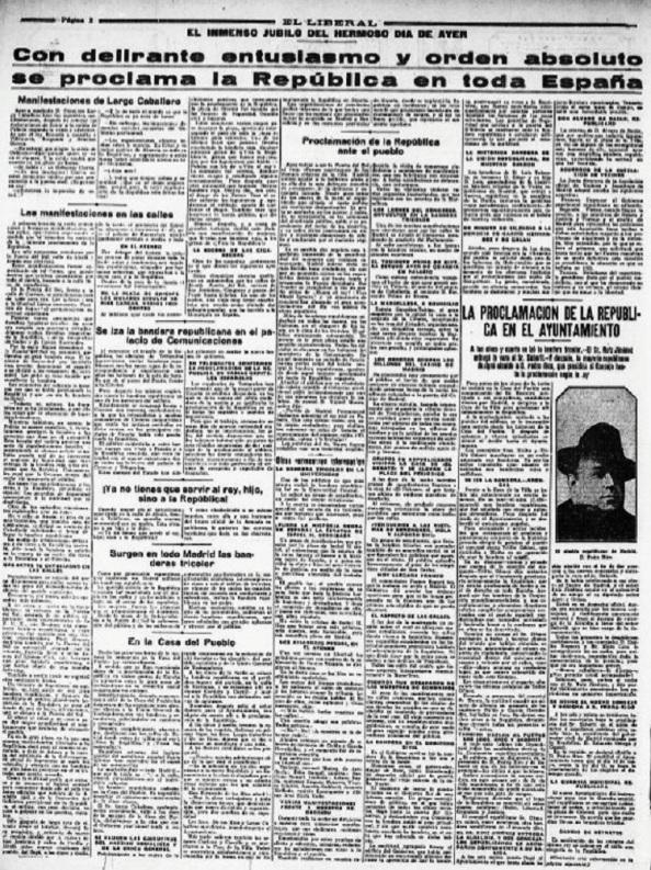 """Diario """"El Liberal"""" de Madrid. Edición 15.04.1931"""
