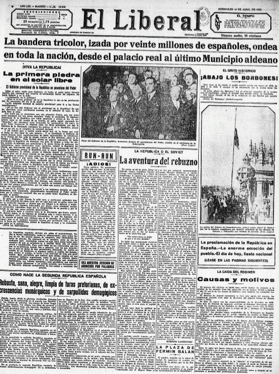 """Proclamada la República, esto escribía el diario """"El Liberal"""" (15.04.1931): """"En realidad, el periódico no es hoy más que un adiós estrepitoso, alegre, vibrante. ¡Adiós! ¡Hasta nunca! El régimen monárquico ha terminado. Basta de historia. Bata de vergüenzas. ¡Adiós! España merece serlo todo en el mundo. Y lo será con la República. ¡Adiós! ¡Buen viaje! El tren del descrédito nacional ha partido para el olvido definitivo. ¡Adiós! Al fin podréis saber de cerca lo que es la libertad. Abridla vuestros brazos. Y despedid a la tiranía histórica. ¡Adiós!"""""""