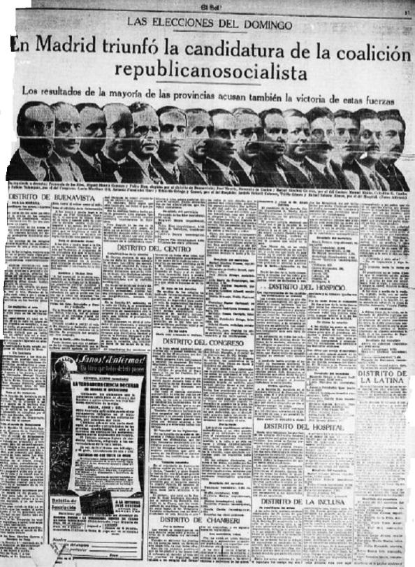 """Diario """"El Sol"""", en su edición del 14 de abril, publicaba los rostros del nuevo Gabinete republicano y hacía una relación de los resultados de las elecciones municipales."""