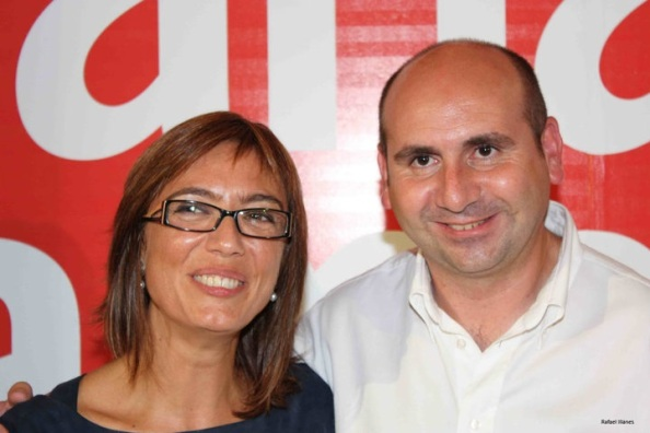 María Gámez y Francisco Conejo, los dos primeros de la lista municipal a Málaga capital, en éxtasis