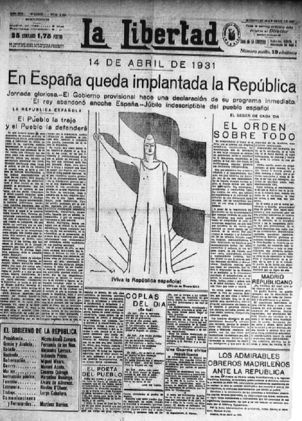 """Al día siguiente, acompañado por una ilustración que daba vítores a la República, se podían leer los siguientes titulares: """"Jornada gloriosa""""; """"El Pueblo la trajo y el Pueblo la defenderá""""; y """"Júbilo indescriptible del pueblo español""""."""