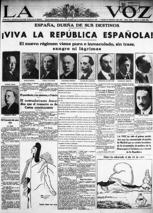 """En una portada trufada con los rostros del nuevo Gobierno y con viñetas ilustrativas, La Voz celebraba la proclamación de la Segunda República como un """"nuevo régimen"""" que venía """"puro e inmaculado, sin traer sangre ni lágrimas"""". En un apartado de su primera, explicaba que había sido """"el primer periódico"""" en comunicar """"al pueblo de Madrid que se estaba tramitando la transmisión de poderes de la Monarquía al Gobierno provisional de la República""""."""