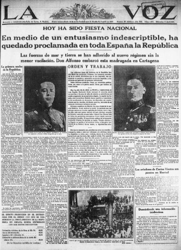 """Al día siguiente, este diario seguía celebrando la República con estas líneas: """"Los primeros pasos del Gobierno de la República han sido dados con prudencia y firmeza. (...) Todos debemos ayudarles. Unos, por convicción política. Otros, por amor a la patria común. Otros, por instinto de conservación. (...) Hoy ha sido un día de júbilo en Madrid, y seguramente en toda España. (...) Ayer y hoy ha sido, más que nunca, síntesis del país glorioso, cargado de historia venerable, en que todos vimos la luz. (...) Es necesario que, pasadas las horas de emoción y transporte, todos y cada uno volvamos a la cotidiana tarea. La República es orden, paz y trabajo, dentro de la libertad garantizada por las leyes. Que nadie lo olvide. Nos aguarda una labor gigantesca"""". (W.P)"""