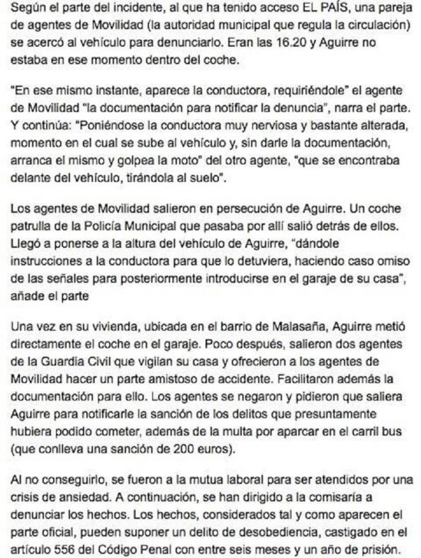 """La información del caso que sobre el propio parte da """"El País""""."""