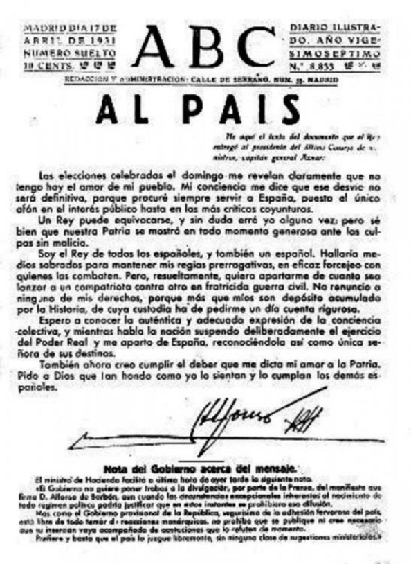 El diario ABC publica la carta de despedida del Rey Alfonso XII, donde no renuncia a
