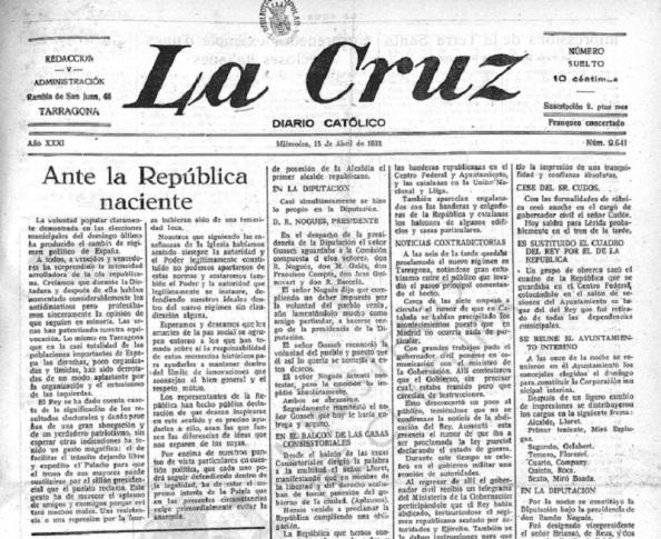 Prensa católica que manifiesta estar sorprendida por la llegada inesperada de la República pero que la acata manteniendo sus diferencias.