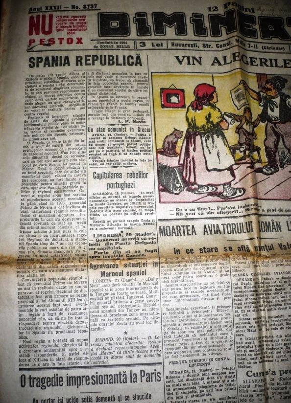 prensa rumana informando de la llegada de la República a España