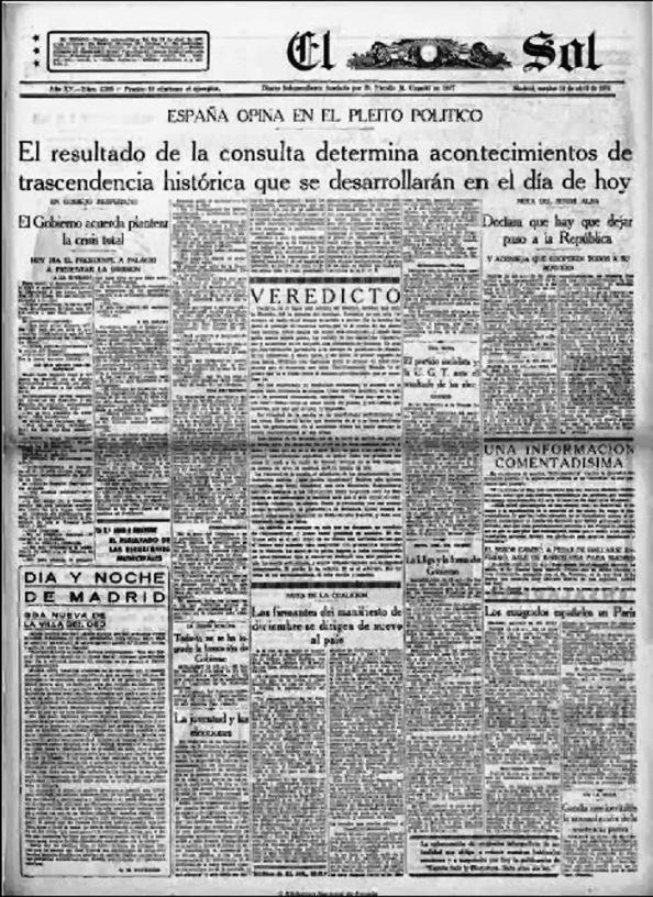 """Diario """"El Sol"""" de Madrid, 14.04.1931"""