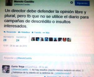 Tweet de Manuel Castillo, director del diario SUR con réplica del censurado
