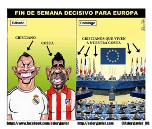 Cartel de eurescéptico mezclando el fútbol con las urnas