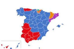 Mapa político de España tras las elecciones europeas del 2014 pero ya del de minorías mayoritarias