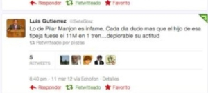 Comentario de Luis Gutiérrez en twitter, reponsable de NNGG dl PP en Majadahonda