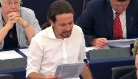 Pablo Iglesias dando la reprimenta a la casta europea de las sicavs, del austericidio para la mayoría y del déficit democrático