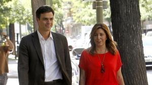 Susana Diaz junto a Pedro Díaz. La bicefalia no reconocida que salió del Congreso. Se posponen las primarias abiertas