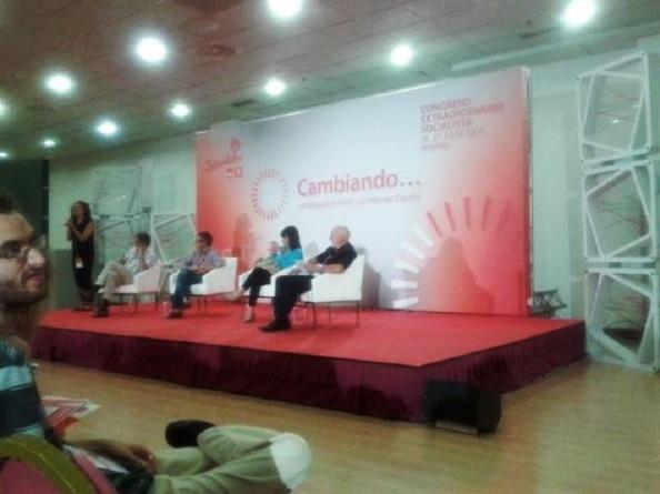 Uno de los foros paralelos al Congreso, la de Medio Ambiente, con la presencia de Cristina Narbona, Domingo Jiménez Beltrán, de la Agencia Europea de Madio Ambiente y un representante de Green Peace, entre otros