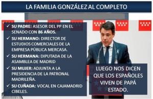 Para Ignacio González, todo es privatizable, salvo los empleos públicos de sus familiares