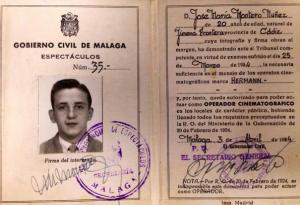 Caarnet de operador de cine de José María Montero Núñez. Málaga, 3 de abril 1953