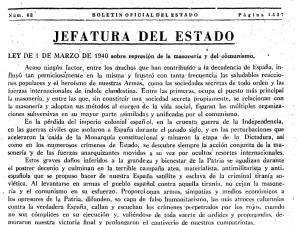 Pr´plogo a la Ley contra la masonería de 1941
