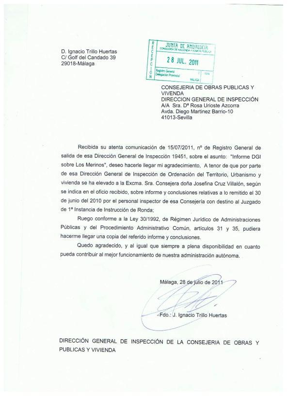 Petición del informe que dijo la Consejería de la Junta que había evacuado sobre el informe de los inspectores dirigidos al juzgado. Sin respuesta a la fecha de hoy (21.09.2014)