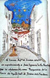 Placa del pregón de la feria de agosto 2003 que dí. Se recoge la calle San Sebastián donde nací y viví, en el número 10.