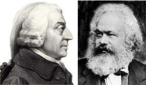 Karl Marx y Adam Smith, padres del socialismo y del liberalismo