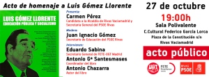 Homenaje a Luis Gómez Llorente, en Rivas (Madrid) 27.10.2014.