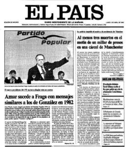 El País.02.04.1990. Congreso de refundación del PP. Fraga mostrando la carta de Aznar, que aparece tapándose la cara, y tras la frase