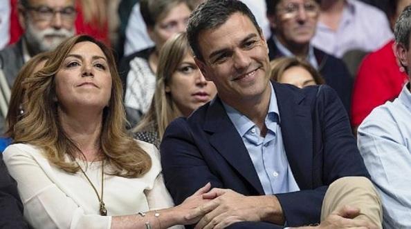 La cara de Susana Díaz dicen todo de su mala relación actual con Pedro Sánchez al no cumplir el papel de títere de la dirigente socialista andaluza, autora principal de que ganara las primarias del PSOE