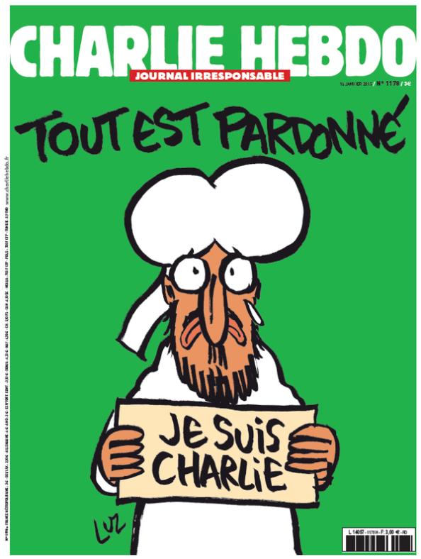 Portada de la Edición extra de Charlie Hebdo con motivo del atentado