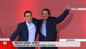 El partido de izquierda, Syriza triunfante en Grecia y su homónimo en España, `Podemos´ de España, fantasmas que rondan la política española y que con un PASOK griego en la marginalidad hace  templar al PSOE
