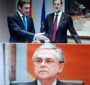 Los títeres de Merkel para aplicar la política austericida en la periferia de la UE: Rajoy, Passos Coelho y Papadimo
