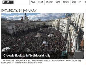 La información sobre la marcha que ofrecía la BBC en portada