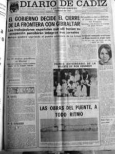 El cierre de la Verja de Gibraltar. Diario de Cádiz. 1969