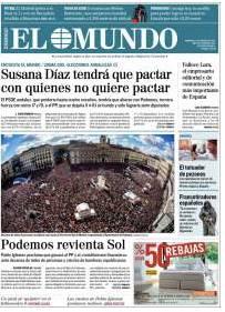 El primer titular para El Mundo, Susana Díaz. Abajo, foto de la Puerta del Sol abarrotada.